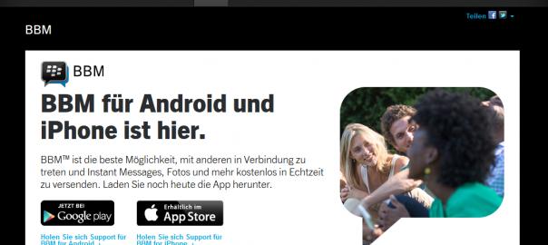 Blackberry Messenger für iOS und Android verfügbar, runter mit WhatsApp